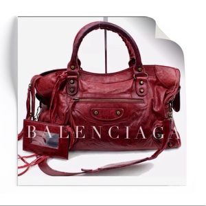 Auth BALENCIAGA- Distressed Leather 2 Way City Bag